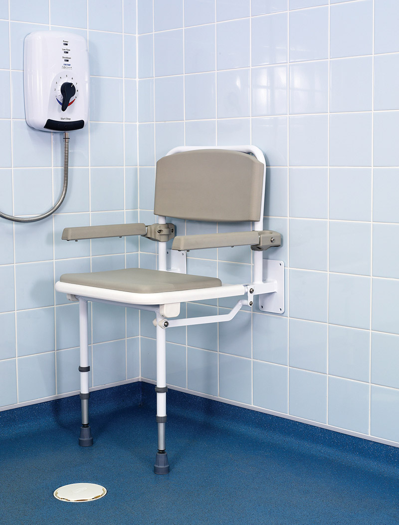Wall Mounted Fold Down Shower Seat With Padded Seat Back