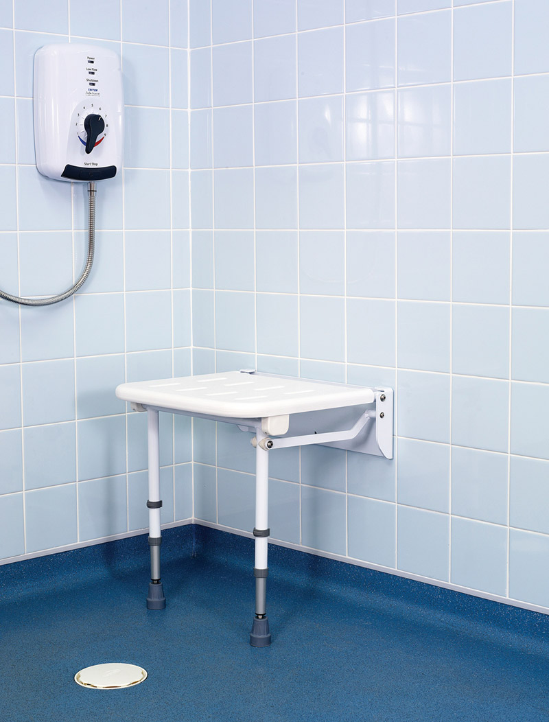 Padded Wall Mounted Adjustable Fold Down Hinged Shower Seat